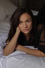 Cécile. (Nicolas Fourny photographie) Tags: 50mm canon 600d portrait portraiture girlportrait womanportrait brunette beautifulbrunette beautifulwoman beautifulgirl hotelroom cute sexy gorgeous model greeneyes sensual sensualité sensuality sensuelle