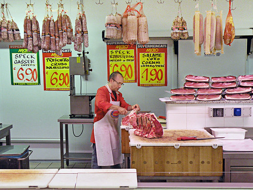 Ferdinando prepares t-bone steaks at Micromarket