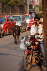 Old and New (AnniversaryRoad) Tags: asia canon5d canon5dmkii eastindian india indian karnataka udupi canon city color colour cow digital man motorcycle motorcycles outdoor outside people phone sidewalk sigma street streetphotography talking telephoto zoom