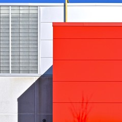 Urban Abstract No 43 (llawsonellis) Tags: modernarchitecture abstraction minimal abstractminimal crop selection fragment urban urbanabstract red white yellow blue bluesky shadow castshadowonwall grids texture patterns linear windows siding walls facade square squareformat nikon nikond5300 2dfacade geometry architecturalgeometry
