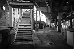 Under the Tracks, (GDMetzler) Tags: nikon trains chicago d90 illinois winter stairs unionstation channel2 l outdoors blackandwhite bw rails gdmetzler cta