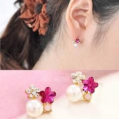 ต่างหูคริสตัล รูปดอกไม้และมุกหรูหราใหม่แฟชั่นเกาหลีสวย Crystal Pearl Earrings นำเข้า สีชมพู - พร้อมส่งW479 ราคา250บาท ต่างหูมุกแฟชั่น แฟชั่นต่างหูออกงานผู้หญิงสีชมพูรูปดอกไม้สวยสดชื่น เก๋ที่ต่างหูแบบแป้นดีไซน์หรูหราทอง9Kน้ำหนักเบา ต่างหูคริสตัลสังเคราะห์ป
