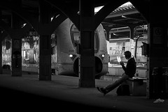Waiting (Olderhvit) Tags: street blackandwhite train canon photography streetphotography trainstation streetphoto 2015 gatufoto gatufotografi img9543 framingthestreet goteborggothenburg olderhvit