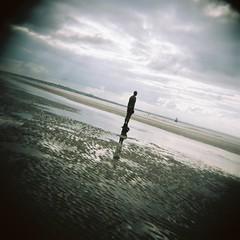 CNV00019 (Bingo Little) Tags: sea men beach statue holga sand statues plasticfantastic 120film publicart vignetting vignette gormley crosby anotherplace