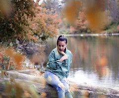 Susana (Katerina Toth) Tags: portrait ontario reflection fall nature water girl leaves canon river 50mm model scenery colours grain full frame teenager vignette 6d niftyfifty komoka