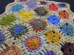 Experimental Outside-In Crochet (Knittermobile) Tags: blue red orange color green yellow scarf colorful experimental purple teal crochet gray silk holes fabric handspun freeform handspinning
