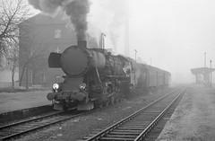 Loco Ty2 215  |  Nysa  |  1987 (keithwilde152) Tags: blackandwhite monochrome fog architecture train buildings 1987 tracks poland steam passenger locomotives stations ty2 pkp nysa