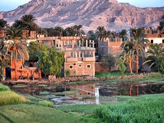 Reflections at Sunrise in Luxor Egypt (Travel to Eat) Tags: balloons dawn morninglight earlymorning egypt luxor hotairballoons nileriver lushgreenfields