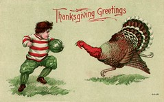 Thanksgiving Football Greetings (Alan Mays) Tags: thanksgiving old november sports birds animals vintage paper cards typography football funny holidays humorous comic antique humor illustrations running ephemera poultry postcards type turkeys greetings players fonts printed footballplayers typefaces greetingcards footballs