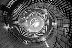Out of Control (TS446Photo) Tags: camera blackandwhite bw white black monochrome up architecture club stairs spiral lights mono hotel nikon europe steps perspective poland rail down explore staircase warsaw 20mm burst dslr d600 spiralstair explored nikond600 nikon20mm