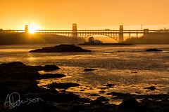 Sunset at the bridge (andrewjd44) Tags: bridge sunset wales reflections warm north cymru menai britannia anglesey northwales straights britanniabridge menaistraights