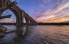 Pump House Park Sunset (Joey Wharton) Tags: bridge sunset sky water clouds train river virginia richmond va rva