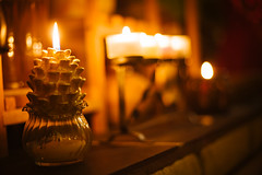 May your Holidays be Bright! (Prestonbot) Tags: candles bokeh candlelit pinecone