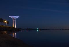 The blue watertower (Budoka Photography) Tags: bluehour nightphoto watertower mirror serene sea nightheaven night sky nightsky outdoor lightsatnight longexposure le seascape seaside sweden
