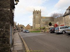 Saint Edward King and Martyr Church from West Street, in Corfe Castle in 2013, in the county of Dorset, England. (samurai2565) Tags: corfecastle castleindorset england purbecks wareham doomsdaybook bankesestate thenationaltrust swanage sandbanksferry studland
