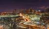 St. Paul Winter Skyline (lpvisuals.com) Tags: 2016 28mmf2 a7 mississippi city colors freshsnow fullframe lightrail longexposure minnesota saintpaul seasons skyline snow sony stpaul twincities urban winter
