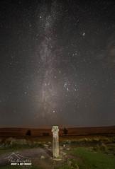 Starfall at Siward's Cross (macdad1948) Tags: stars astro nightscape starscapes milkyway orion dartmoor nationalpark princetown nunscrossfarm siwards cross ancientmonument granite samyang 14mm
