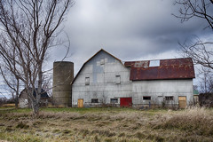 The Old Tin Barn (gabi-h) Tags: barn windows wednesday rural rustic princeedwardcounty autumn gabih tinroof rusty farm agriculture trees sky field grass metal silo ontario