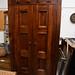 Tall solid dark wood ornate 2 door wardrobe