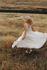 (Positively lifted.) Tags: running turing dress white blonde curls model photographer pnw washington wind nature