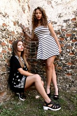 Fashion Shoot (Lucie Bevan Photography) Tags: fashion shoot location black dress stripy legs photography wall grass