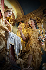 The look of angels (marko.erman) Tags: crngrob church pilgrimage annunciation slovenia slovenija culture heritage architecture škofja loka sony gothic neogothic interior paintings fresco ceiling altar gilded golden sculptures angels