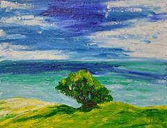 Ocean View (BKHagar *Kim*) Tags: bkhagar art artwork painting paint acrylic canvas board sky ocean water sea clouds impressionist hat is thsi