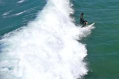 It's Gonna Get Him! (AntyDiluvian) Tags: california venice beach la losangeles surf surfer board wave surfing foam surfboard venicebeach breaking crashing fishingpier