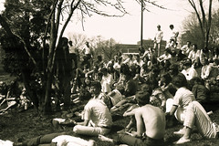 Free University (fillzees) Tags: people bw tree monochrome campus student ut university outdoor hill crowd group lawn class gathering