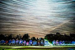 Wells Star Trails (Neal_T) Tags: sea sky beach stars coast sand fuji norfolk wells astrophotography f2 12mm beachhuts startrails lightroom milkyway samyang starstax samyang12mm