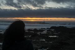 Dusk. (ThomasMartinPhotography) Tags: ocean california travel sunset sky woman beach water girl clouds rocks explore