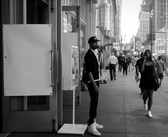 The Sale is Inside... (Robert S. Photography) Tags: street nyc summer people bw newyork man monochrome shop canon doors sale manhattan powershot 7thave opened bullhorn 2015 iso160 a3400