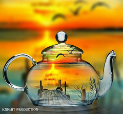 Time for a cupper (:) Knight Production) Tags: new old sunset orange lake reflection bird art me water beautiful yellow river out outside golden weird photo pond artwork scenery image outdoor jetty scenic picture surreal cable scene wierd knight production teapot about outandabout waterreflection unusal perfectlighting cableknight knightproduction