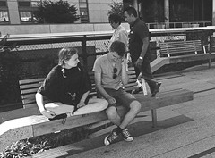 highlinepeople (Patrick Copley) Tags: street nyc boy people film girl 35mm legs grain streetphotography knees highline canonae1p ilford3200 3200iso malelegs femalelegs fd28mmf28 femaleknees maleknees