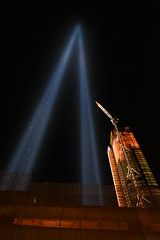 9-11 Pillars of Light Up-close (Amaury Laporte) Tags: newyorkcity usa newyork unitedstates 911 landmarks northamerica tributeinlight memorials september11memorial