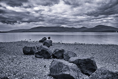Line of Stones (s.gregory) Tags: water landscape scotland blackwhite rocks lochs lochlomand