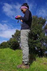 Toots charging her phone (4seasonbackpacking) Tags: winter newzealand walking phone hiking smartphone backpacking nz southisland toots ta tramping phones nobo achara teararoa teararoatrail 4seasonbackpacking fourseasonbackpacking tatrail somephones