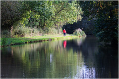 The Judge Said It needed someone in Red !! (Petefromstaffs) Tags: autumn red canon reflections interesting canals elements unusual staffordshire waterscape fradleyjunction coventrycanal 60d