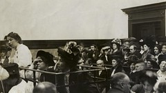 Christabel Pankhurst, Flora Drummond and Emmeline Pankhurst in court, 1908. (LSE Library) Tags: thewomenslibrary women suffrage politics christabelpankhurst floradrummond emmelinepankhurst dock court trial bowstreet houseofcommons conspiracy sedition hires person:name=christabelpankhurst person:name=floradrummond person:name=emmelinepankhurst