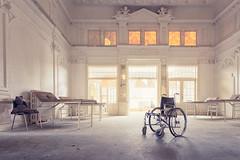 "the teddy and his wheelchair (Martin.Merz) Tags: lost was nikon teddy decay wheelchair sigma forgotten e teddybear once rotten clinic physio klinik urbex rollstuhl home"" d7200"