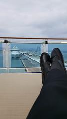 Comfy look back at Barcelona before we sail (grinnin1110) Tags: barcelona port hotel dock spain europe deck cruiseship catalunya es mediterraneansea ricardobofill islandprincess mediterraneancruise vacation2015