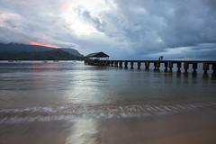 Just Beyond (Tim Gupta) Tags: sunset beach hawaii pier kauai hanaleibay