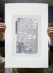 Sinclair ZX Spectrum - Circuit portrait v in greys (Euphy) Tags: old blue portrait orange art water computer paper print grey screenprint acrylic hand spectrum board fine gray silk machine somerset screen retro 80s silkscreen computing satin pcb 1980s circuit sinclair circuitboard based zx speccy pulled aesthetic fr4