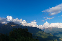 Annapurna South 7219m, Hiunchuli 6441m, Machapuchare 6993m (Poxxel) Tags: nepal tadapani annapurnasouth hiunchuli machapuchare