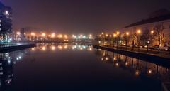 Night Reflection (trm42) Tags: night rakennukset bridge finland reflection buildings cityscape helsinki suomi trees urban street yö winter heijastus talvi narrow puut fog usva lamps heijastukset siltavuorensalmi
