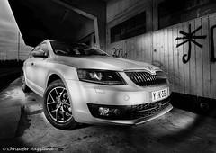 Skoda (ToffeHgglund) Tags: skoda octavia elinchrome quadra car monochrome blackandwhite vehicle flash photoshop layers canon canon5dmkiii
