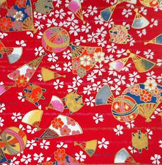 Yuzen washi 190 (tengds) Tags: handmadepaper japanesepaper yuzenwashi washi chiyogami red white gold blue flowers fans temariballs temari tengds
