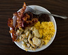 Another Home-cooked Breakfast (Johnny Silvercloud) Tags: breakfast canon canon5dmarkiii food lightroom5 soulfood western bacon eggs potatoes red sausage yellow