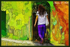 Passeggiata in full color (agostinodascoli) Tags: nikon nikkor cianciana sicilia fullcolor agostinodascoli colore donna art digitalart digitalpainting photoshop photopainting texture creative