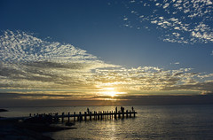 Hot summer night in Melbourne (Marian Pollock) Tags: australia victoria melbourne brightonbeach sunset clouds pier people summer colourful silhouette beach portphillipbay ocean dusk sun cloud